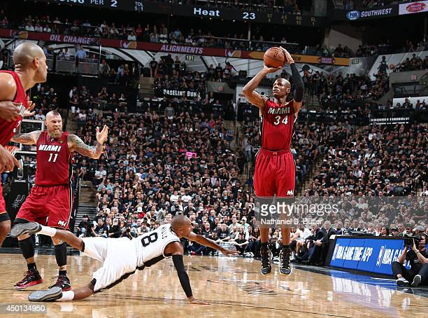 Ray Allen of the Miami Heat shoots against Tony Parker of the San Antonio Spurs in Game One of the 2014 NBA Finals at ATT Center on June 5 2014 in...