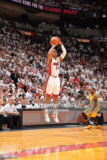 Ray Allen of the Miami Heat shoots the ball against the Indiana Pacers in Game Six of the Eastern Conference Finals during the 2014 NBA Playoffs on...