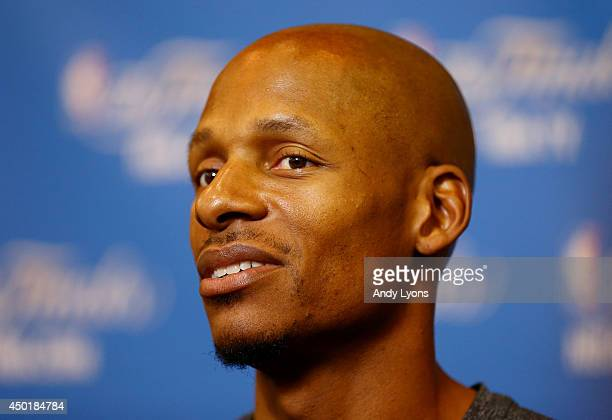 Ray Allen of the Miami Heat speaks to the media on a practice day following Game One of the 2014 NBA Finals against the San Antonio Spurs at the...