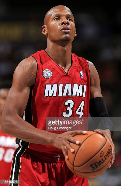 Ray Allen of the Miami Heat takes a free throw against the Denver Nuggets at the Pepsi Center on November 15 2012 in Denver Colorado The Heat...