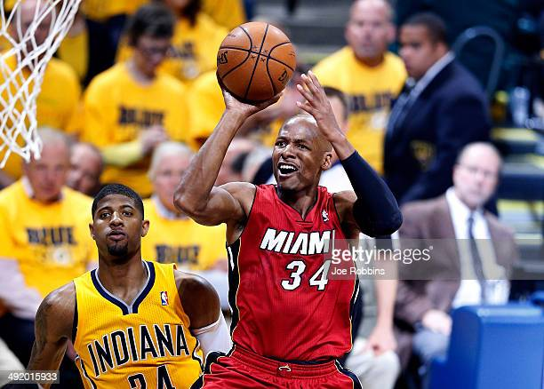 Ray Allen of the Miami Heat takes a shot against the Indiana Pacers during Game One of the Eastern Conference Finals of the 2014 NBA Playoffs at...
