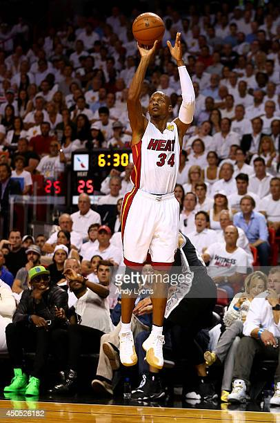 Ray Allen of the Miami Heat takes a shot against the San Antonio Spurs during Game Four of the 2014 NBA Finals at American Airlines Arena on June 12...