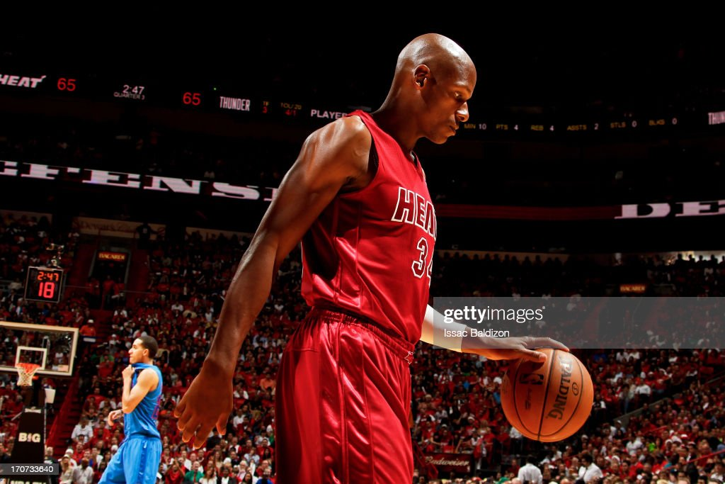 Ray Allen #34 of the Miami Heat walks to the sideline while playing against the Oklahoma City Thunder during a Christmas Day game on December 25, 2012 at American Airlines Arena in Miami, Florida.