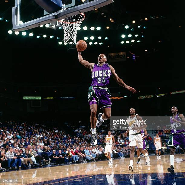 Ray Allen of the Milwaukee Bucks attempts a dunk during a 1998 NBA game against the Golden State Warriors at the Arena in Oakland California NOTE TO...