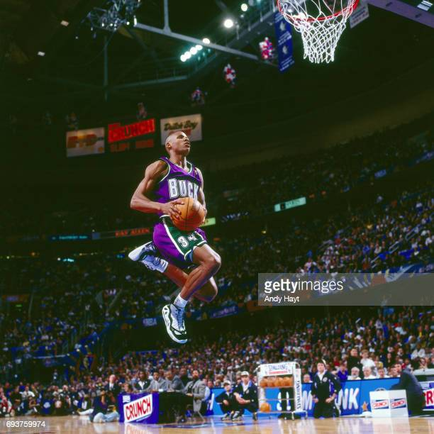 Ray Allen of the Milwaukee Bucks goes to the basket during the game during the 1997 Slam Dunk Contest on February 8 1997 at Gund Arena in Cleveland...