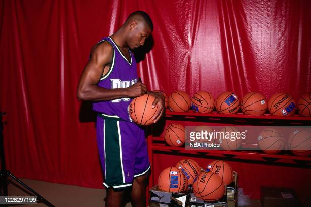 Ray Allen of the Milwaukee Bucks signs basketballs during the 1996 NBA Rookie Photo Shoot on September 20, 1996 in Orlando, Florida. NOTE TO USER:...