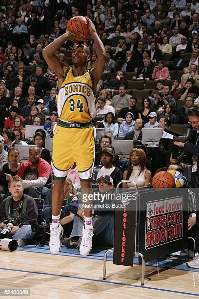 Ray Allen of the Seattle Sonics attempts a free throw during the Foot Locker ThreePoint Shootout during 2005 NBA AllStar Weekend at the Pepsi Center...