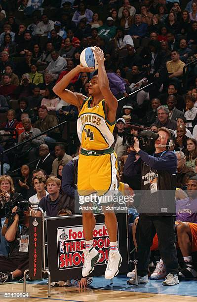 Ray Allen of the Seattle Sonics attempts a threepointer in the Foot Locker ThreePoint Shootout during 2005 NBA AllStar Weekend at the Pepsi Center in...