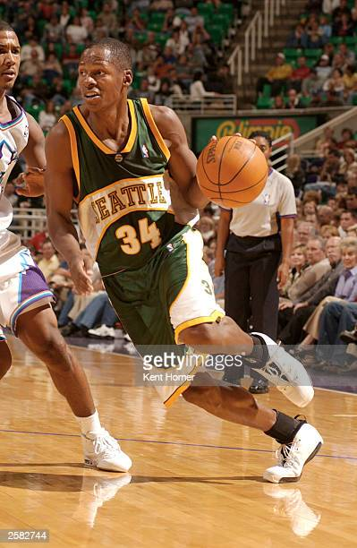 Ray Allen of the Seattle Sonics driblles against the Utah Jazz October 11 2003 at the Delta Center in Salt Lake City Utah NOTE TO USER User expressly...