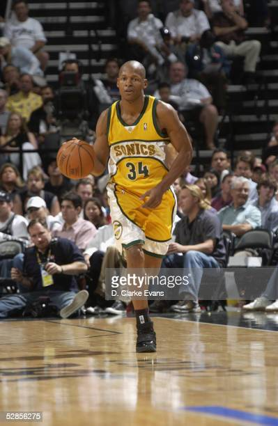 Ray Allen of the Seattle Sonics drives against the San Antonio Spurs in Game two of the Western Conference Semifinals during the 2005 NBA Playoffs at...