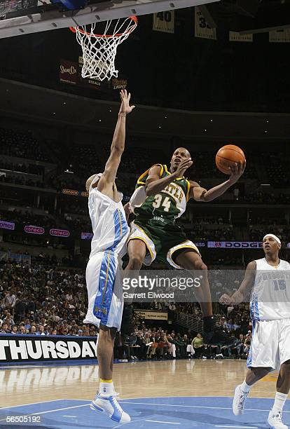 Ray Allen of the Seattle Sonics goes to basket against the Denver Nuggets on December 29 2005 at the Pepsi Center in Denver Colorado NOTE TO USER...