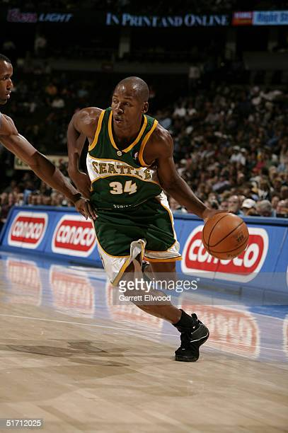 Ray Allen of the Seattle Sonics goes to the basket against the Denver Nuggets on November 9 2004 at Pepsi Center in Denver Colorado NOTE TO USER User...
