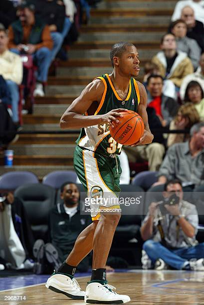 Ray Allen of the Seattle Sonics holds the ball during the game against the Sacramento Kings at Arco Arena on February 3 2004 in Sacramento California...