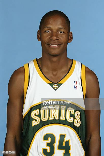 Ray Allen of the Seattle Sonics poses for a portrait during NBA Media Day on October 4 2004 in Seattle Washington NOTE TO USER User expressly...