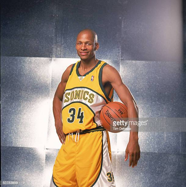 Ray Allen of the Seattle Sonics poses for a portrait prior to competing in the Footlocker 3Point Shootout during 2005 NBA AllStar Weekend at Pepsi...