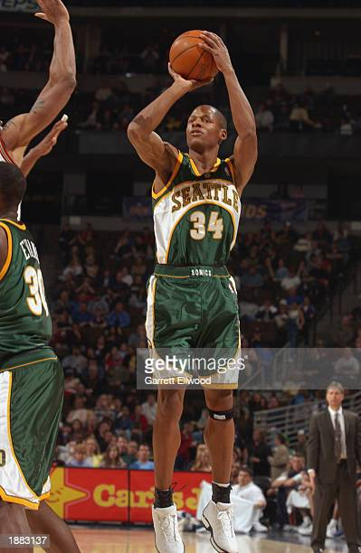 Ray Allen of the Seattle Sonics shoots against the Denver Nuggets during the game at Pepsi Center on March 16 2003 in Denver Colorado The Sonics won...