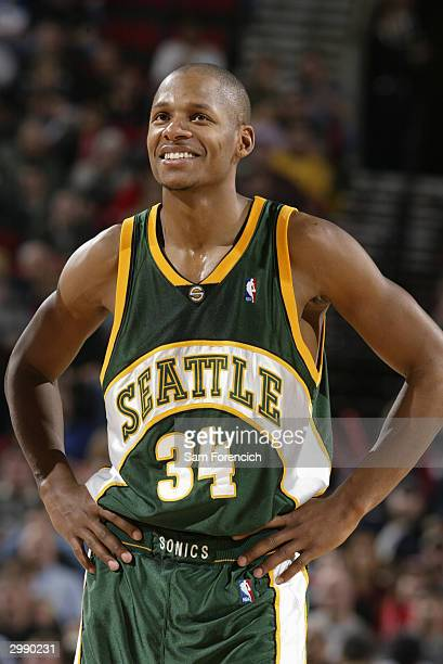 Ray Allen of the Seattle Sonics smiles during the game against the Portland Trail Blazers at the Rose Garden on February 8 2004 in Portland Oregon...