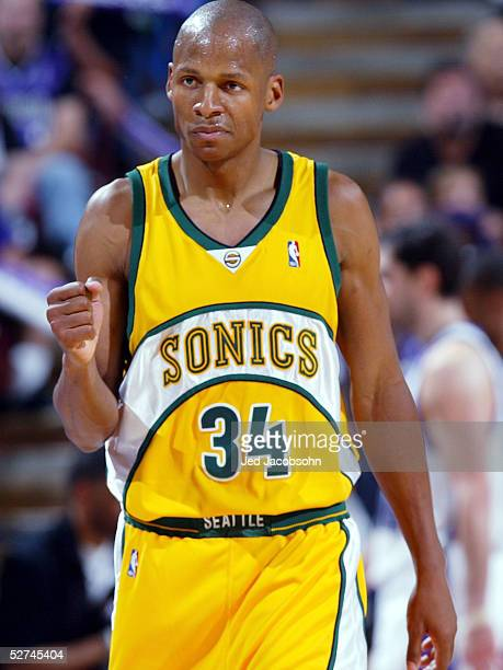 Ray Allen of the Seattle SuperSonics celebrates after hitting a shot against the Sacramento Kings in Game four of the Western Conference First Round...