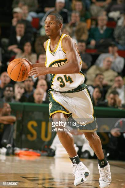 Ray Allen of the Seattle SuperSonics dribbles against the Los Angeles Clippers at Key Arena on April 14 2006 in Seattle Washington The Clippers won...