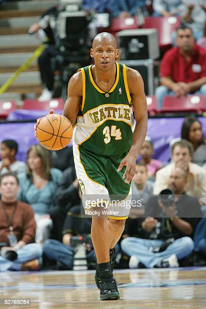 Ray Allen of the Seattle SuperSonics dribbles the ball upcourt against the Sacramento Kings in Game three of the Western Conference Quarterfinals...