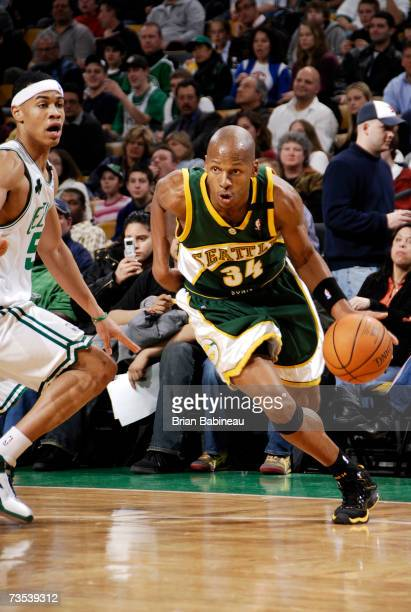 Ray Allen of the Seattle SuperSonics drives to the basket past Gerald Green of the Boston Celtics on March 9 2007 at the TD Banknorth Garden in...