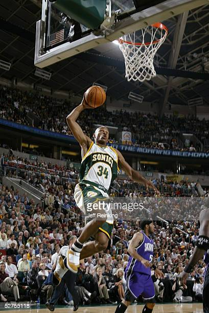 Ray Allen of the Seattle SuperSonics dunks against the Sacramento Kings in Game five of the Western Conference Quarterfinals during the 2005 NBA...