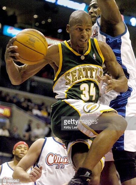 Ray Allen of the Seattle SuperSonics goes in for a layup during the game between the Seattle SuperSonics and the Los Angeles Clippers at the Staples...