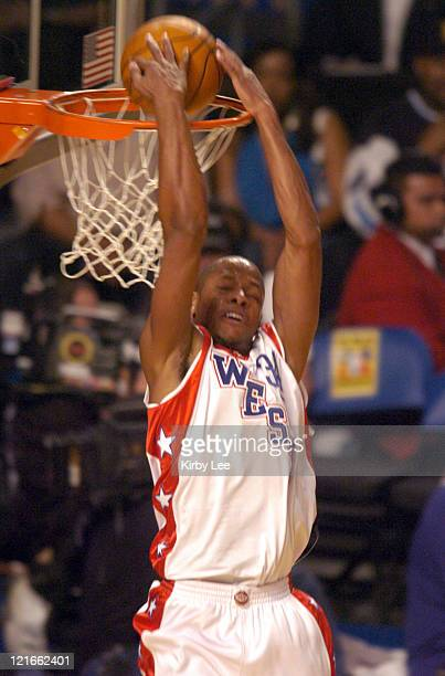 Ray Allen of the Seattle SuperSonics goes up for a dunk in the NBA AllStar Game at the Staples Center in Los Angeles California on Sunday February 15...