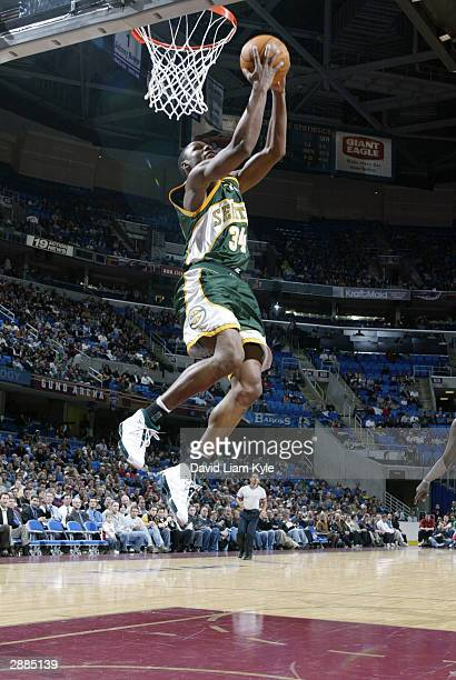 Ray Allen of the Seattle SuperSonics goes up for a reverse dunk against the Cleveland Cavaliers January 20 2004 at Gund Arena in Cleveland Ohio NOTE...