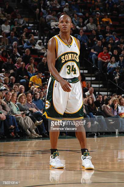 Ray Allen of the Seattle SuperSonics looks on during a game against the New Orleans/Oklahoma City Hornets at Key Arena on December 26, 2006 in...