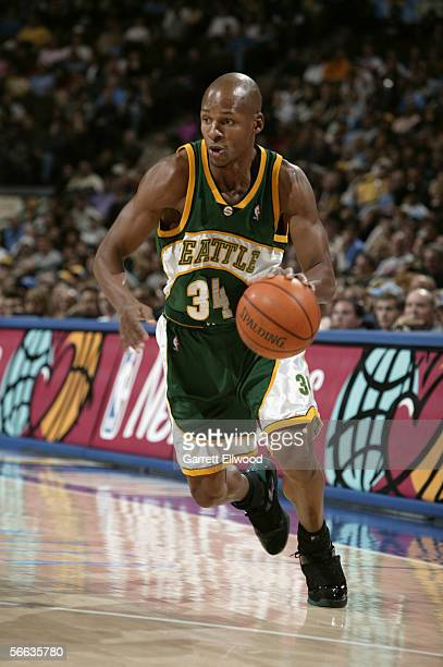Ray Allen of the Seattle SuperSonics moves the ball during the game against the Denver Nuggets at Pepsi Center on December 29 2005 in Denver Colorado...