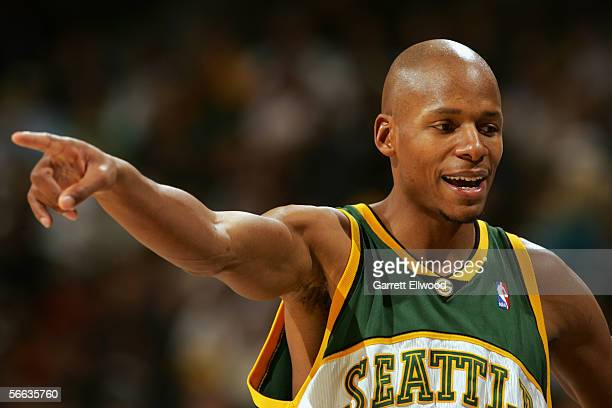 Ray Allen of the Seattle SuperSonics points to his right during the game against the Denver Nuggets at Pepsi Center on December 29 2005 in Denver...