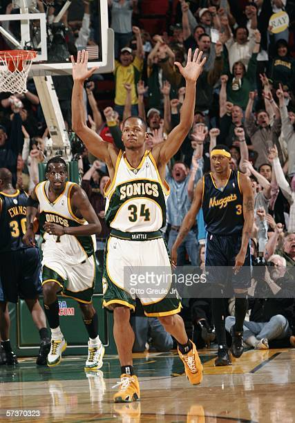 Ray Allen of the Seattle SuperSonics reacts after hitting his sixth threepoint shot of the game against the Denver Nuggets breaking the NBA record...