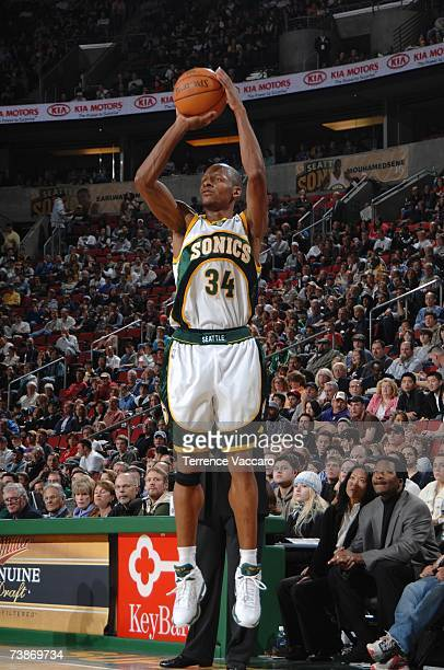Ray Allen of the Seattle SuperSonics shoots a jump shot during a game against the Charlotte Bobcats at KeyArena on March 4 2007 in Seattle Washington...