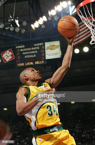 Ray Allen of the Seattle SuperSonics shoots a layup against the Sacramento Kings in Game four of the Western Conference Quarterfinals during the 2005...