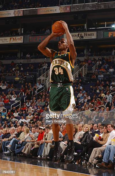 Ray Allen of the Seattle SuperSonics shoots against the Phoenix Suns on February 6 2004 at the America West Arena in Phoenix Arizona NOTE TO USER...
