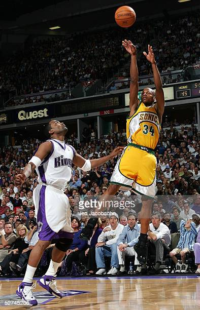 Ray Allen of the Seattle SuperSonics shoots over Cuttino Mobley of the Sacramento Kings in Game four of the Western Conference during the 2005 NBA...