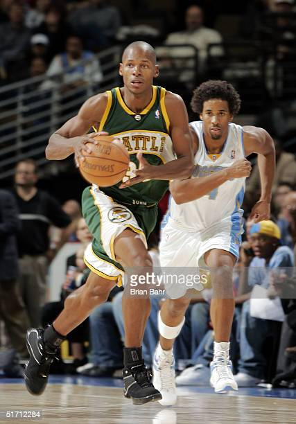 Ray Allen of the Seattle SuperSonics takes off downcourt after stealing the ball against Andre Miller of the Denver Nuggets in the fourth quarter at...