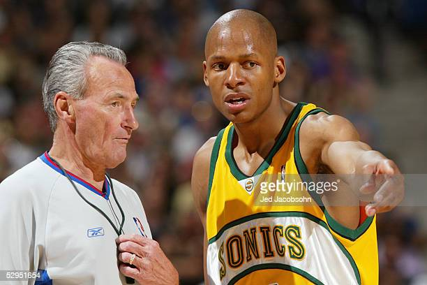 Ray Allen of the Seattle SuperSonics talks to referee Jack Nies during the game against the Sacramento Kings in Game four of the Western Conference...