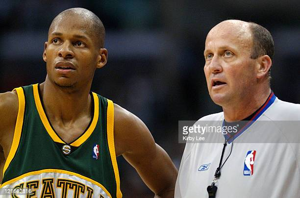 Ray Allen of the Seattle SuperSonics talks with a referee during the game between the Seattle SuperSonics and the Los Angeles Clippers at the Staples...