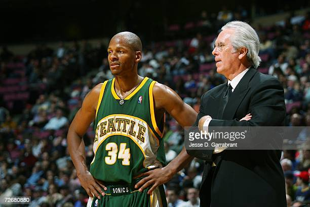 Ray Allen of the Seattle SuperSonics talks with head coach Bob Hill during the game against the New Jersey Nets on November 13 2006 at the...