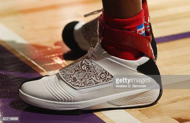 Ray Allen of the West AllStars shows off his Jordan XX during practice at the Denver Convention Center on February 19 2005 in Denver Colorado NOTE TO...
