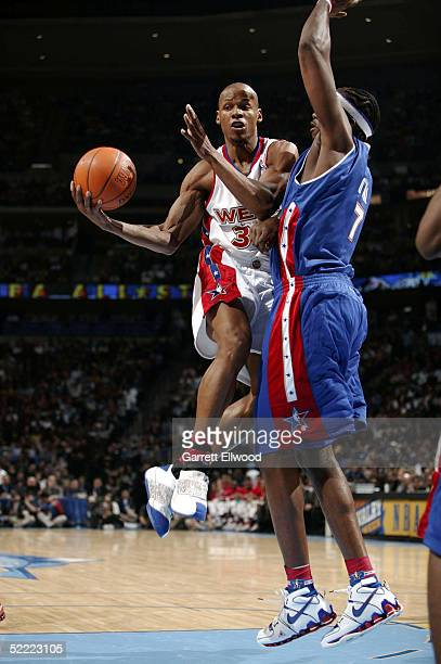 Ray Allen of the Western Conference AllStars looks to pass against the Eastern Conference AllStars during the 2005 NBA AllStar Game at the Pepsi...