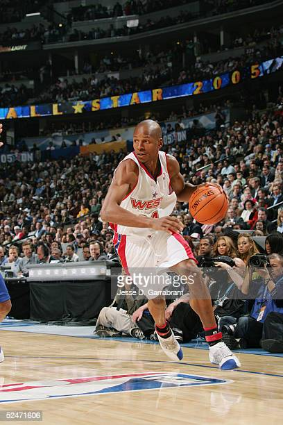 Ray Allen of the Western Conference AllStars moves the ball during the 54th AllStar Game part of 2005 NBA AllStar Weekend at Pepsi Center on February...