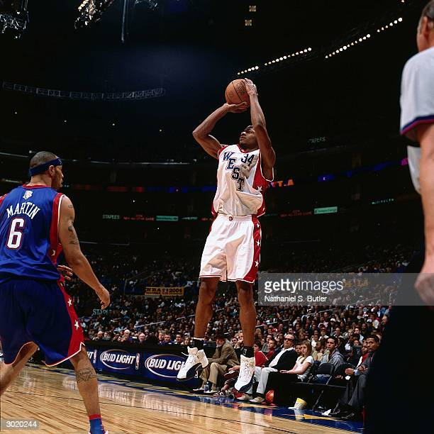 Ray Allen of the Western Conference AllStars shoots against the Eastern Conference AllStars during the 2004 AllStar Game on February 15 2004 at...