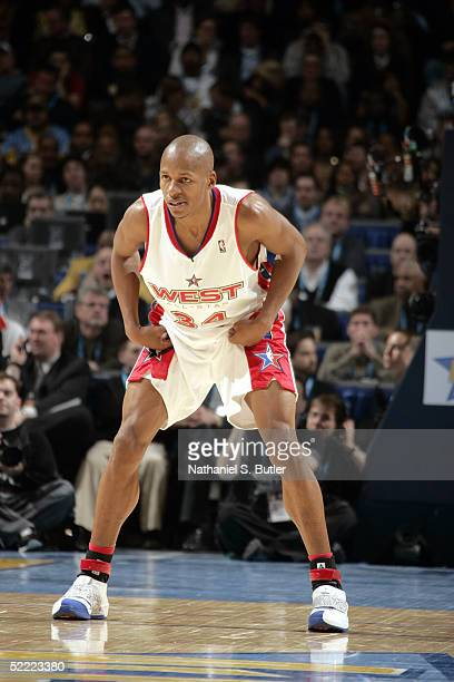 Ray Allen of the Western Conference plays defense against the Eastern Conference AllStars during the 2005 NBA AllStar Game at The Pepsi Center on...