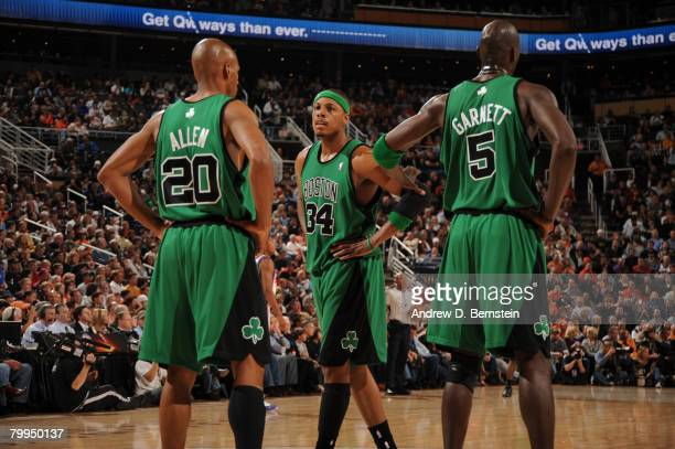 Ray Allen, Paul Pierce, and Kevin Garnett of the Boston Celtics speak during a time out against the Phoenix Suns in an NBA game played at U.S....