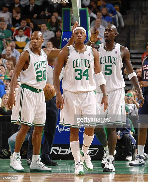 Ray Allen, Paul Pierce and Kevin Garnett of the Boston Celtics walk up the court in game against the Atlanta Hawks at the TD Banknorth Garden...