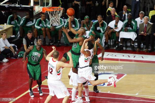 Ray Allen shoots during the NBA Preseason game between the Boston Celtics and the Toronto Raptors as part of the 2007 NBA Europe Live Tour on October...