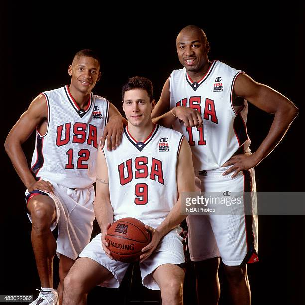 Ray Allen Tom Gugliotta and Vin Baker of the United States Mens Olympic Basketball Team pose for a portrait circa 2000 in Sydney Australia NOTE TO...